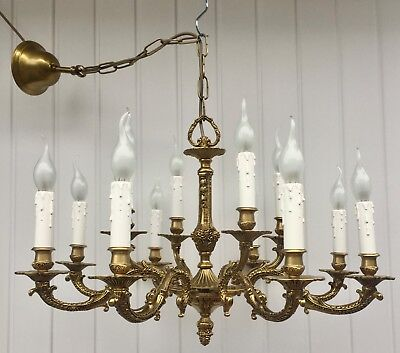 Vintage Antique Solid Brass Rococo 12 Branch Two Tier Chandelier, Ceiling Light