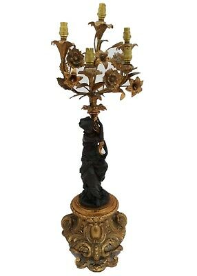 Patinated Bronze Ormolu Figural 5 light Candelabrum Lamp Antique c 1890 68cm Hi