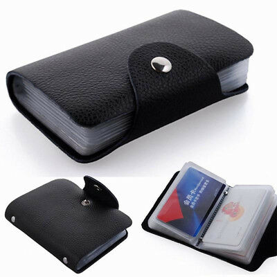 Unisex 12/24Cards Slim PU Leather ID Credit Card Holder Pocket Case Purse Wallet