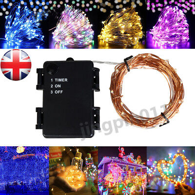 Waterproof Timer Micro LED Copper Wire Battery Fairy Rice Lights Xmas Party UK
