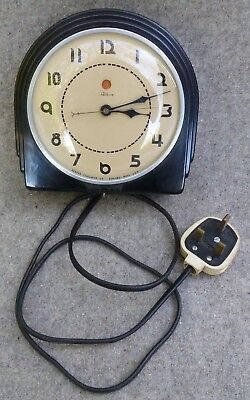 Vintage Art Deco 1930s Bakelite Electric Wall Clock Telechron 2H07 Working 250v