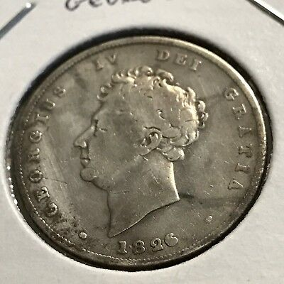 1826 Great Britain Silver Shilling Nice Coin