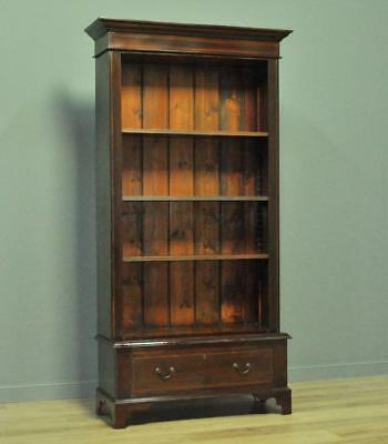 Attractive Simple Antique Mahogany Floor Open Bookcase With Adjustable Shelves