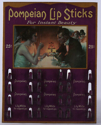 1920s Pompeian Lipstick Advertising Tin Litho Display Holder Gene Pressler Art