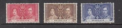 SWAZILAND GV1 1937 CORONATION STAMPS UNUSED  .Rfno.C166.