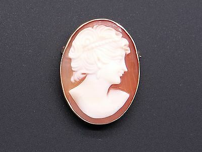 14k Yellow Gold Carved Shell Cameo Woman Profile Brooch Pin Pendant