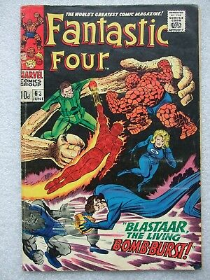 Fantastic Four  #63 (1967) featuring Blastaar The Living Bomburst.  FN