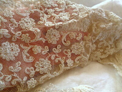 Rare And Beautiful Most Likely Of French Origin Netted Lace With Flowers