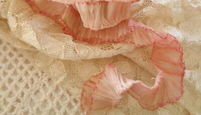 """1930's Double Ruffle With Adorable Edge Organza 22"""" By 1 1/8"""""""