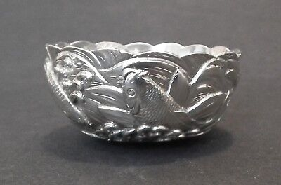 Stunning Japanese Meiji Period Solid Silver Bowl Decorated Koi Carp