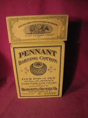 Lot 2 Antique Thread & Darning Cotton Boxes J & P Coates & Blodgett & Orswell