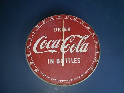"""1950's Coca-Cola 12"""" Round Thermometer, Drink Coke In Bottles, Vintage COKE"""