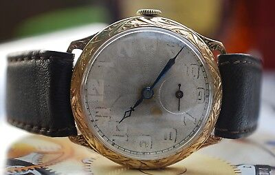 GENTS VINTAGE ART DECO GOLD FILLED WATCH c1930's-SPARES/REPAIRS ONLY!
