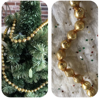 """Vintage Mardi Gras Necklace Gold 5/16"""" Mercury Glass Beads,Feather Tree Garland"""