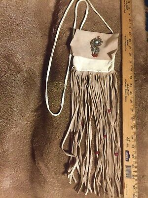 Native American Leather Medicine Bag With Dreamcatcher Pendant With A Turquoise