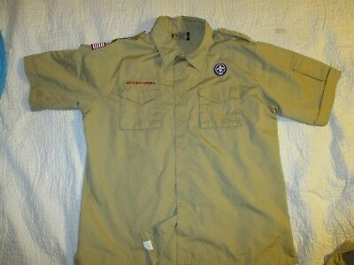 BSA  Boy Scout Uniform Shirt Adult LARGE SS 67%Cotton Centennial