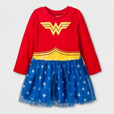 1d118b09a NWT Wonder Woman Girls' Costume Tutu Dress with Long Sleeves, 24 M Red DC