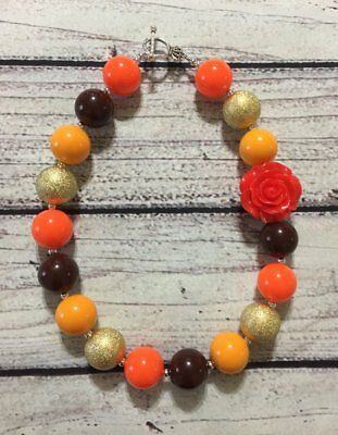 Thanksgiving Fall Autumn Chunky / Bubblegum Necklace Set