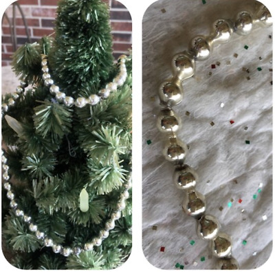 """Vintage Mardi Gras Necklace Silver 1/4"""" Mercury Glass Beads,Feather Tree Garland"""