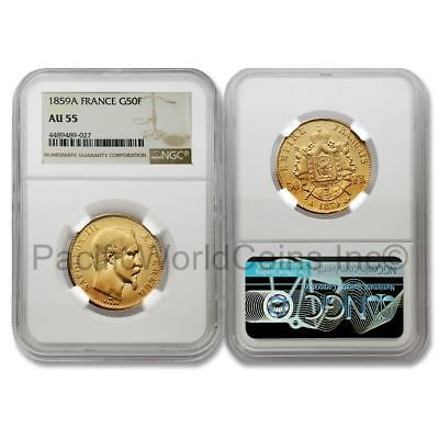 France 1859A 50 Francs Gold NGC AU 55 SKU# 6923