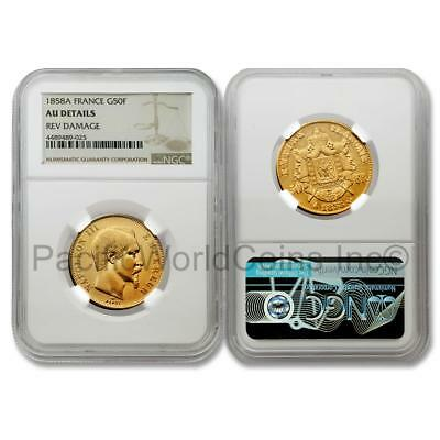 France 1858A 50 Francs Gold NGC AU Details Rev Damage SKU# 6921