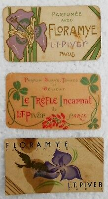 x3 L.T.PIVER ANTIQUES PERFUME ADVERTISING/ CARTE PARFUMEE /PERFUME CARD-1907s