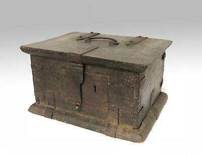 Early Antique Iron bound casket box chest coffer strong box colonial