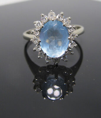 Estate Find Vintage 14K White Gold Diamond &Aquamarine Gemstone Ring 2.3 dwt yqz