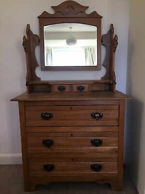 Satin Walnut Dressing Table with central mirror and side mirrors and drawers