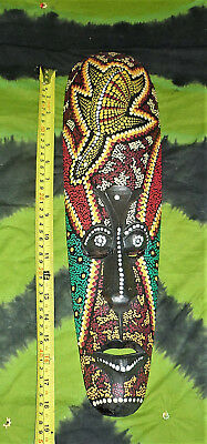 """18"""" Indonesian Colourful Painted Dot Matrix Tribal Head Ethnic Face Mask Wood"""