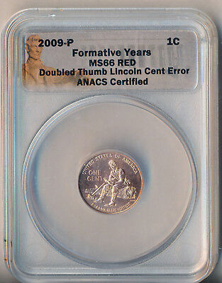 2009-P Lincoln Cent Formative Years Doubled Thumb Mint Error **anacs Ms66 Red**