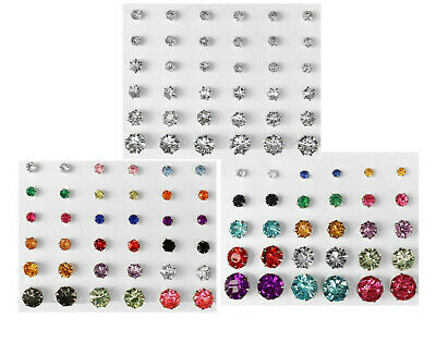 Lot of 39 Cubic Zirconia Stud Earrings Silver Plated Steel Men Women 4mm-10mm