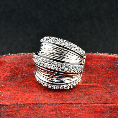 Vintage Gray Cubic Zirconia Big Wide Rings For Women Antique Silver Plated