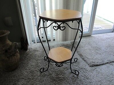 Longaberger Wrought Iron Generations Stand with 2 Wooden Shelves Woodcraft