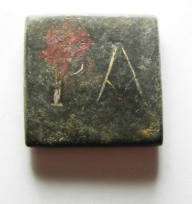 ZURQIEH -as8681- ANCIENT HOLY LAND. ROMAN BRONZE WEIGHT WITH SILVER. 300 A.D