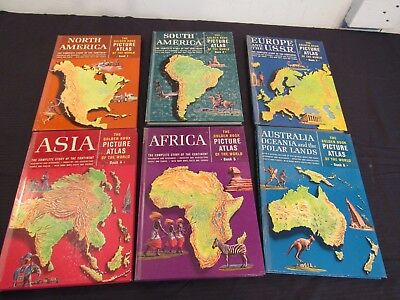 Vintage 1960 The Golden Book Picture Atlas of the World, Complete 6-Volume Set