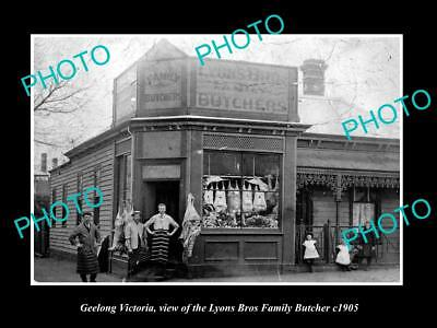 OLD LARGE HISTORIC PHOTO OF GEELONG VICTORIA, THE LYONS BROS BUTCHER SHOP c1905