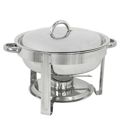 5-Pack Round Chafing Dish Buffet Chafer Warmer Set w/Lid 5 Quart,Stainless Steel