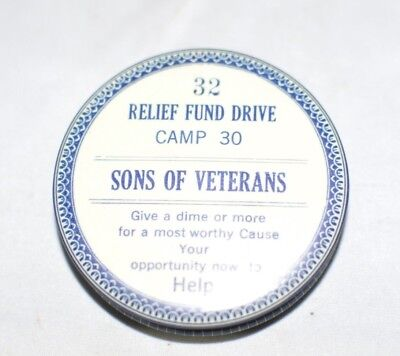 "Circa 1920's Tin Pocket Bank ""SONS OF VETERANS"" RELIEF FUND DRIVE"