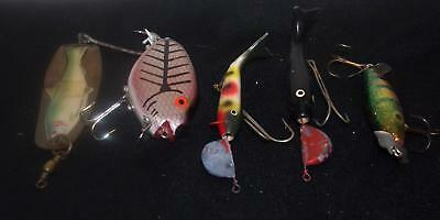5 Antique Fishing Lures-Misc  Collection-Wood-Other-Tackle-Nr(27)