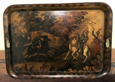 Antique 19th Century Russian Metal Tole Tray Table with Painting of a Battle