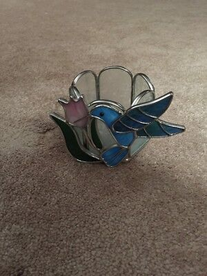 Metal Stained Glass Hummingbird Tea Light Candle Holder Leaded Glass