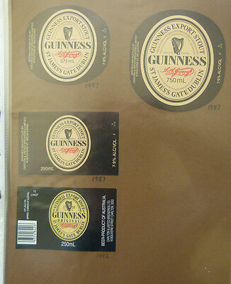 Vintage Australian Beer Labels - Lot Of 4 Carlton & United, Guinness Stout