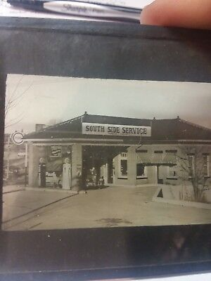 Glass Negative Photo South Side Service Station Pure Oil Gas Rare  antique