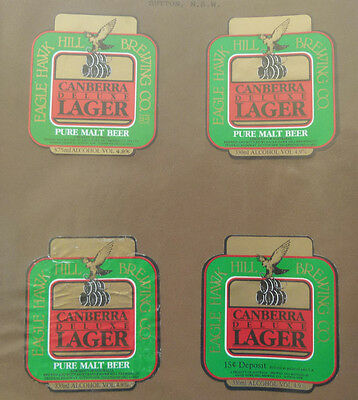 Vintage Australian Beer Labels - Lot Of 4 Eagle Hawk Hill Brewery Lager
