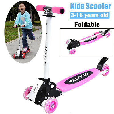 Pink Kids Children Scooter Tri Folding Push 3 Wheel Height Adjustable T Scooters