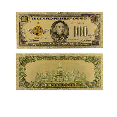 100 Dollar 24k Gold Plated Gold Banknote Collectible Holiday Gift Gold Money