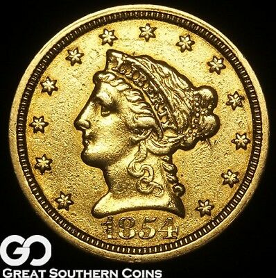 1854-O Quarter Eagle, $2.5 Gold Liberty, Better Date New Orleans Issue, Free S/H