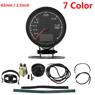 62mm LCD Digital 7 Color Display Boost Turbo Gauge with Sensor Holder Auto Gauge