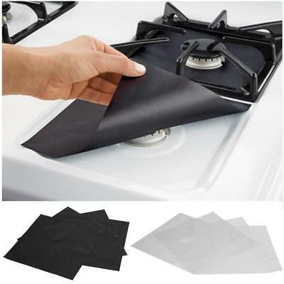 4 Pcs Reusable Gas Range Stove Top Burner Protector Liner Cover Kitchen Cleaning